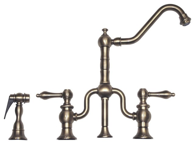 Bridge Faucet w Long Traditional Swivel Spout w Brass
