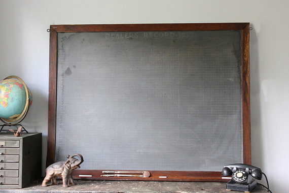 Antique Chalkboard, Marked 'Dealers Record,' 1933 by Canal-Side Studio - Traditional - Bulletin ...
