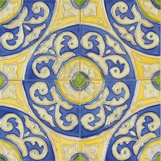 "Circulo 6"" x 6"" Blue 6"" x 6"" Deco Tiles Glossy Ceramic mediterranean-tile"