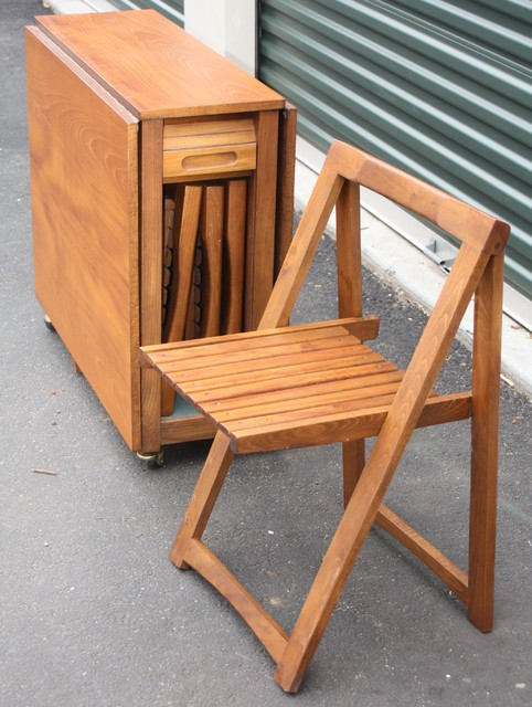 Vintage Teak Foldable Table and 4 Folding Chairs : home design from houzz.com size 482 x 640 jpeg 93kB