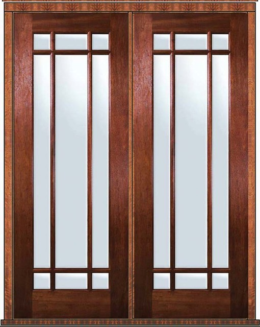 Prehung patio double door 96 wood mahogany 9 lite marginal for Double wood doors with glass