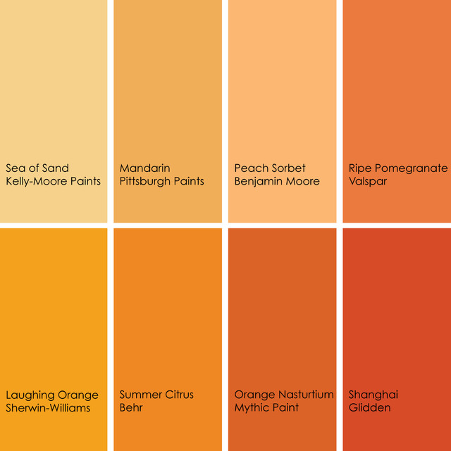 Gallery for names of shades of orange - Interior orange paint colors ...
