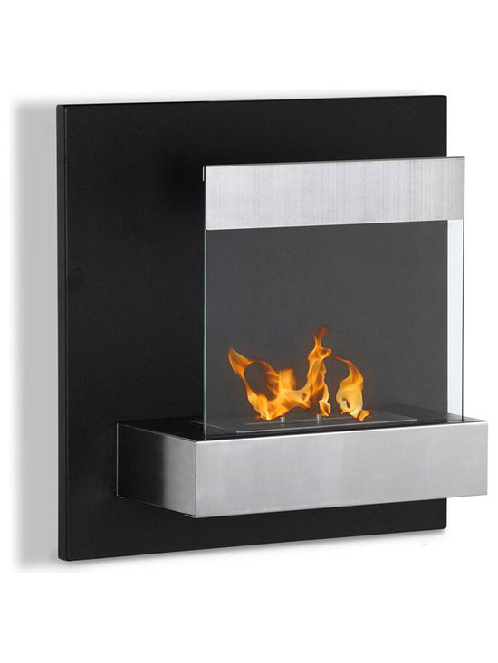 Moda Flame - Madrid Wall Mounted Ethanol Fireplace - The Madrid is a humble framed wall mounted contemporary fireplace which is ideal for compact snug rooms. It is composed of a decorative hammered steel backdrop with a protective tempered glass.
