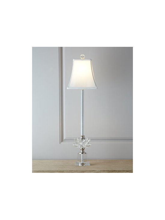 "Horchow - Crystal Buffet Lamp - Slender buffet lamp wears a crystal flower at its base and is crowned by a faceted finial. Handcrafted of clear crystal and metal. Polished-nickel finish. Tetoron/cotton shade with polystyrene backing. Uses one 60-watt bulb. 7.5""Dia. x 28""T. Impor..."