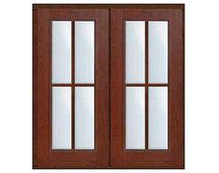 Prehung Patio Double Door 80 Fiberglass 4 Lite Full Lite SDL Glass modern-front-doors