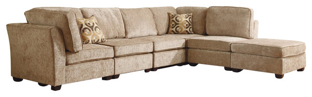Brown beige chenille upholstered fabric modular sectional for Beige chenille sectional sofa