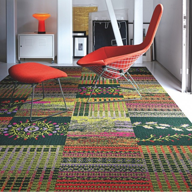 Cut Flowers Carpet Tile in Geranium contemporary carpet flooring