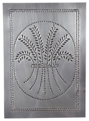 Four Handcrafted Punched Tin Cabinet Panel Primitive Wheat Design, Country Tin farmhouse-kitchen ...