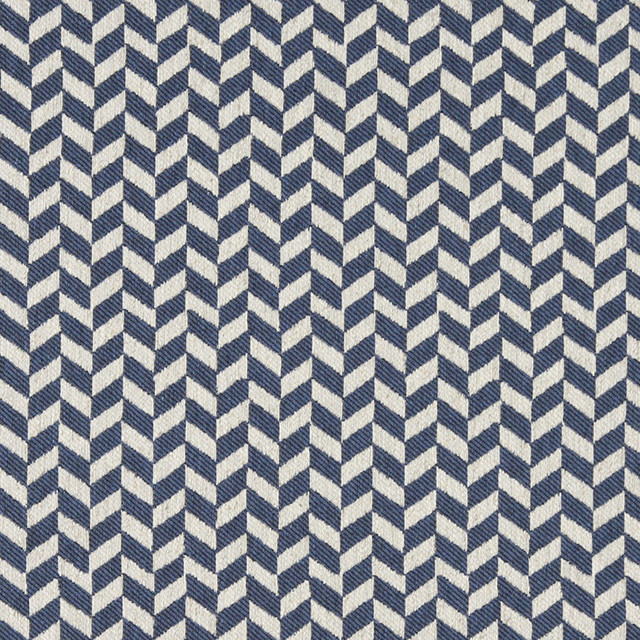 Blue And Off White Herringbone Check Upholstery Fabric By