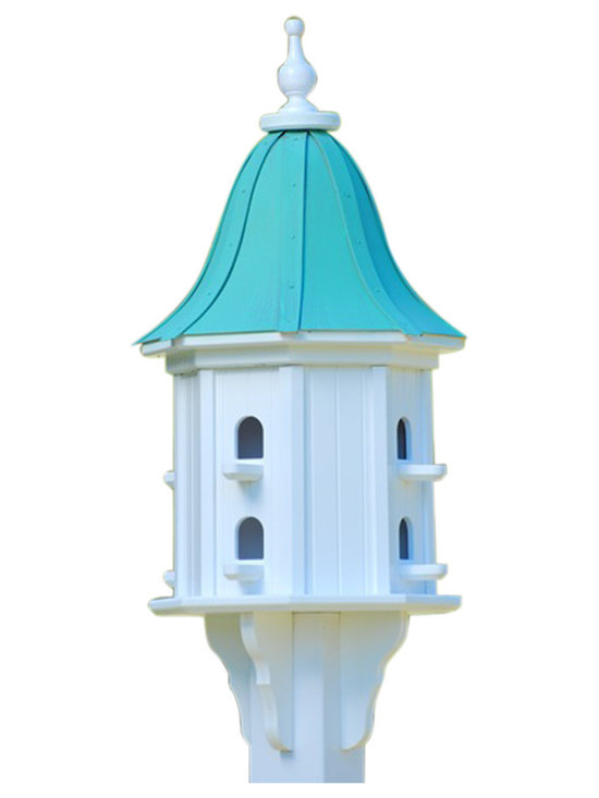 "Dovecote Birdhouse - Dovecote birdhouse adds curb appeal to your place with an impressive 36"" stature from base to finial. There's never a worry of rotting, cracking, splitting or fading... guaranteed!"