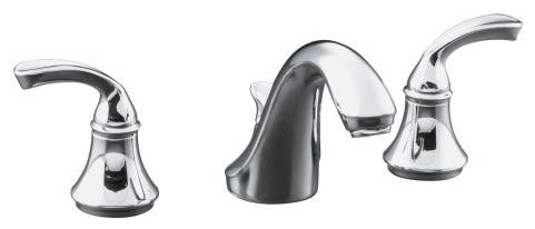 KOHLER K-10272-4-CP Forte Widespread Lavatory Faucet with Sculpted Lever Handles traditional-bathroom-faucets-and-showerheads