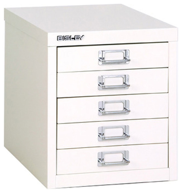 Bisley 5-Drawer Desktop Multi-Drawer Cabinet in White Steel - Traditional - Filing Cabinets - by ...