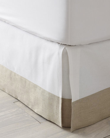 linen trimmed box pleated bedskirt traditional