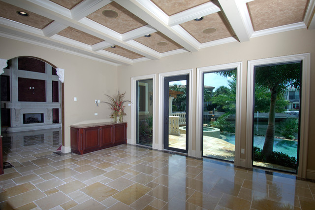 French Pattern Travertine Tile Living Room Miami By