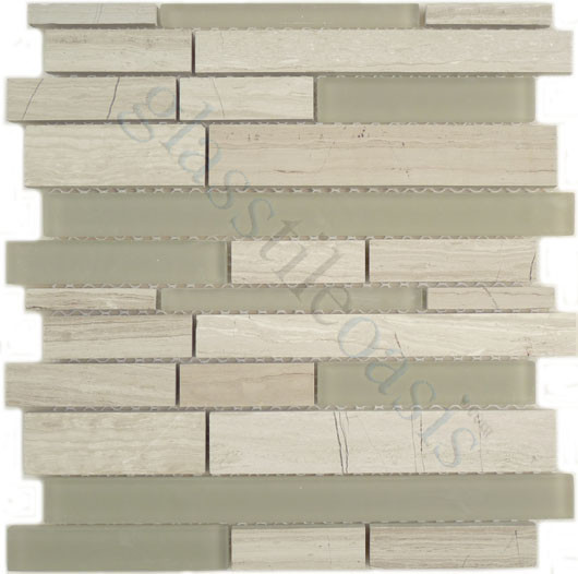 Woody Random Bricks Grey Linea Frosted & Polished Glass and Stone contemporary-tile