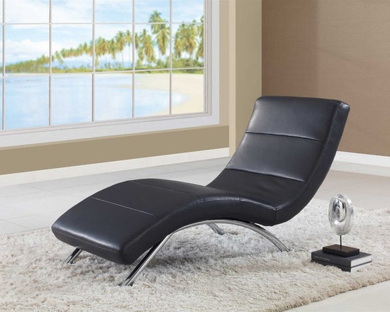 Global Furniture - Global Furniture Chaise Black - Stretch out in comfort on this gently contoured chaise lounger. Upholstered in black leatherette fabric, this chaise seating combines a tailored feeling and contemporary flair effortlessly.