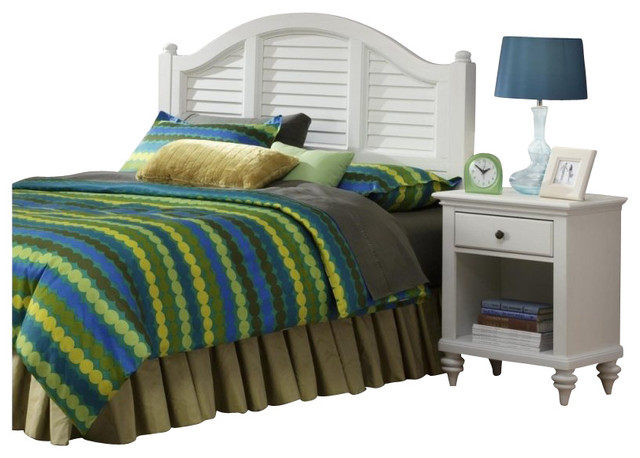 Home Styles Bermuda 2 Piece Bedroom Set in Brushed White-Queen transitional-beds
