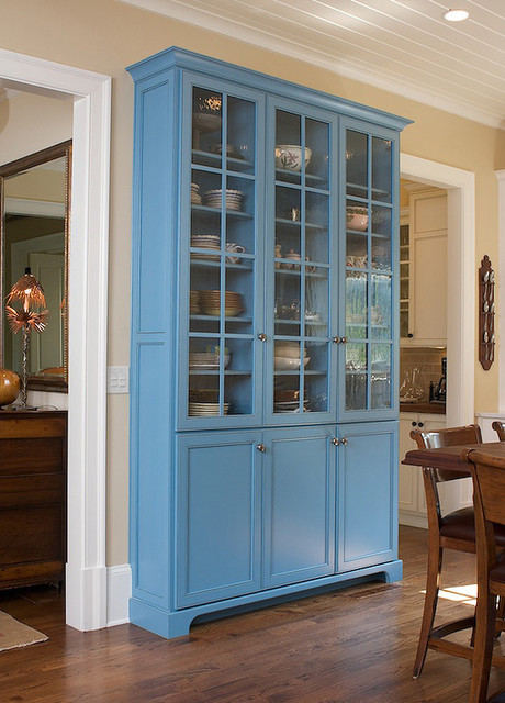 Custom cabinet with antique glass inserts traditional kitchen