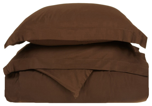 400 Thread Count Egyptian Cotton Full/Queen Mocha Solid Duvet Cover Set traditional-duvet-covers-and-duvet-sets