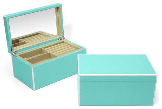 Lacquer Jewelry Box, Turquoise - Contemporary - Jewelry ...