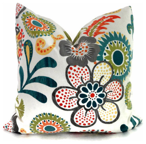 decorative pillow cover by orange turquoise and green mod floral decorative pillow cover by - Turquoise Decorative Pillows