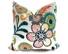 Orange Turquoise And Green Mod Floral Decorative Pillow Cover By PopOColor contemporary-pillows