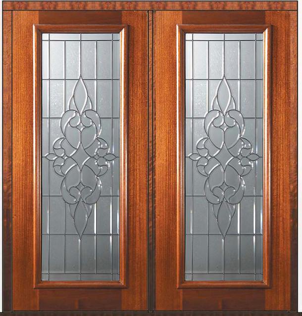 Pre hung double door 80 wood mahogany courtlandt full lite for Full window exterior door