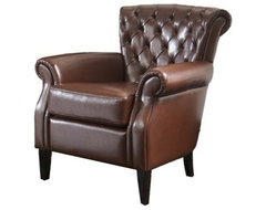 Franklin Brown Tufted Leather Club Chair modern-armchairs-and-accent-chairs