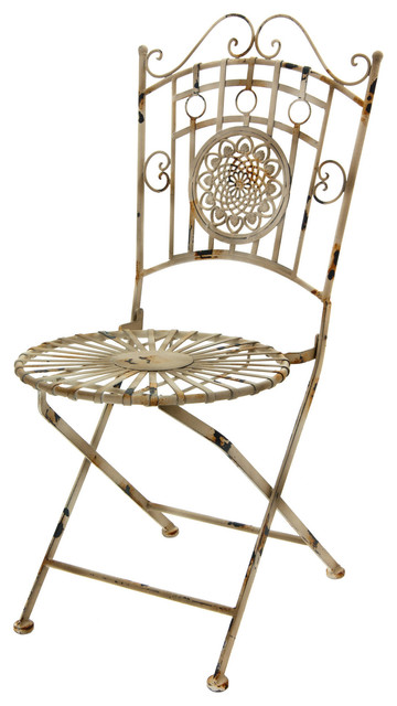 Wrought iron garden chair distressed white farmhouse for White wrought iron furniture