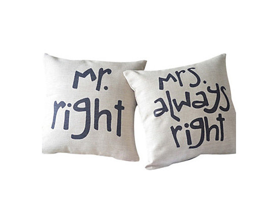 Home Style Decorative Couple Throw Pillow Covers, Mr Right & Mrs. Always Right -