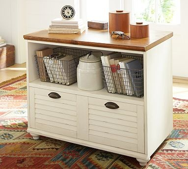 Whitney Shuttered Lateral File Cabinet with Shelf, Almond White with ...
