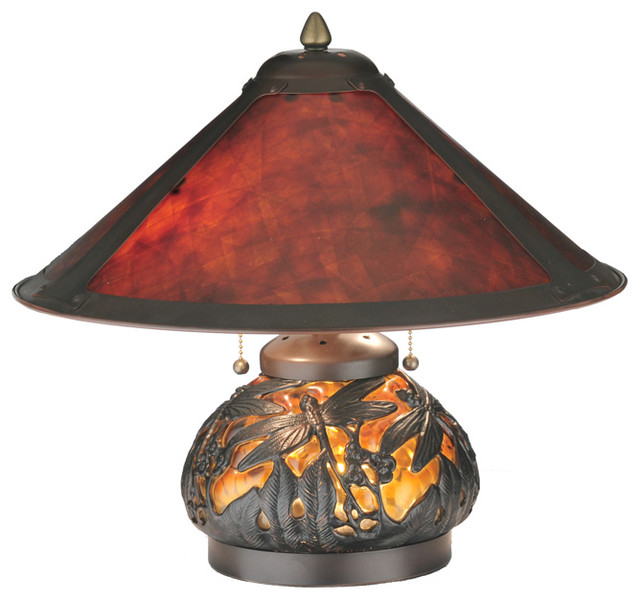 "Meyda Lighting 118681 15.5""H Van Erp Amber Mica Lighted Base Table Lamp traditional-table-lamps"