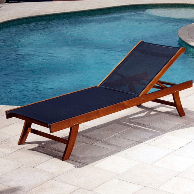 Teak Sun Lounger With Mesh Fabric Contemporary Outdoor Chaise Lounges B