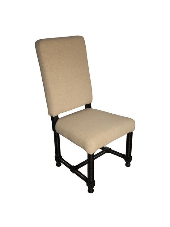 NOIR - NOIR Furniture - Tropical Spanish Side Chair in Distressed Black - GCHA115D1 - Tropical Collection Side Chair