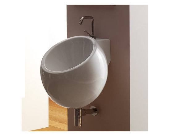 "Scarabeo - Stylish Circular Wall Mounted Ceramic Sink by Scarabeo - Stylish modern wall mounted bathroom sink with single faucet hole and overflow. Circular washbasin made of high quality white ceramic. Designed and manufactured in Italy by Scarabeo. Sink dimensions: 19.70"" (width), 18.90"" (height), 19.70"" (depth)"