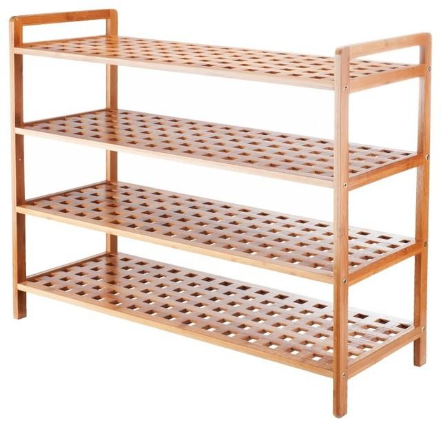 VonHaus 4 Tier Wooden Shoe Rack modern-shoe-storage