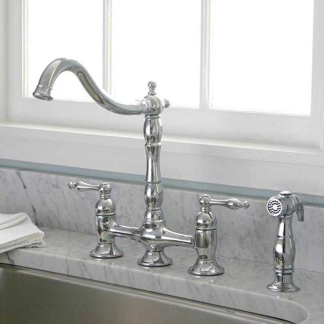Charelstown Bridge Style 2 Handle Chrome Kitchen Faucet