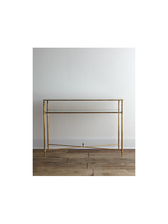 Horchow - Barstow Console - With its slender profile and minimalist yet elegant design, this console adds stunning display space to any area, including narrow hallways and entryways. Handcrafted of iron with antiqued gold-leaf finish. Reinforced mirror top. Tempered glass gall...