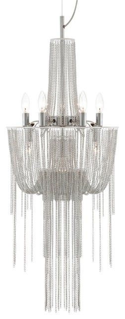 Possini Euro Design Sweeping Chain 9+1-Light Chandelier contemporary chandeliers