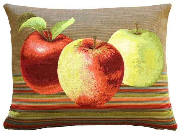 Pillow Decor - Fresh Apples on Brown Rectangular Throw Pillow eclectic-decorative-pillows