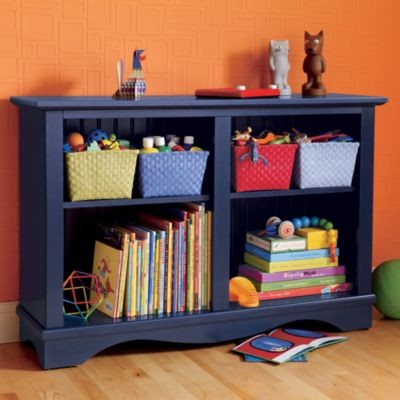 low rider bookcase midnight blue bookcases by the land of nod. Black Bedroom Furniture Sets. Home Design Ideas