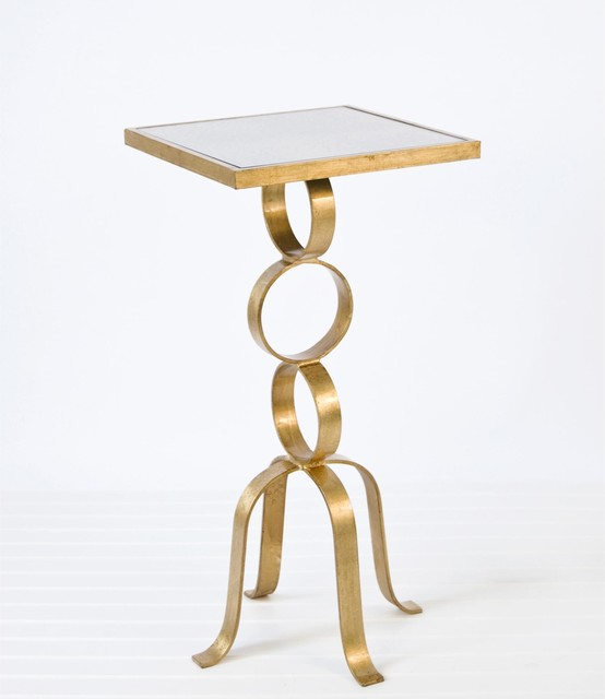 Worlds Away 3-Ring Table - Gold Leaf traditional-side-tables-and-end-tables