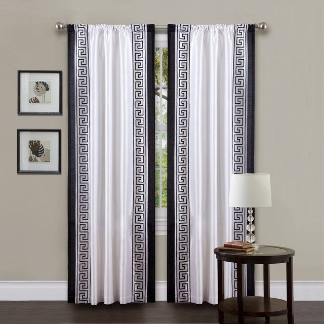 Lush Decor White Black 84 Inch Metropolitan Curtain Panel Contemporary Curtains By