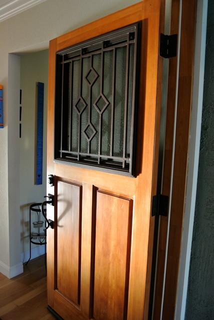 Wrought iron door insert custom design hinged glass w for Exterior doors with screen insert