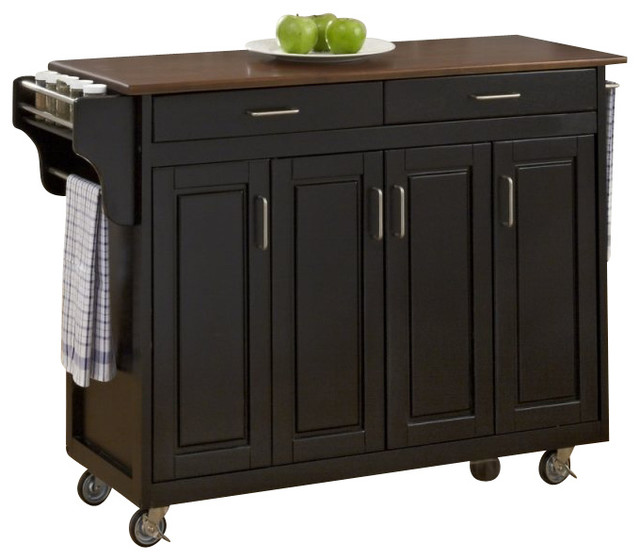 home styles create a cart in black finish with cherry top
