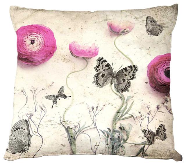 Monika Strigels Vintage Butterfly Linen Pillow contemporary-decorative-pillows