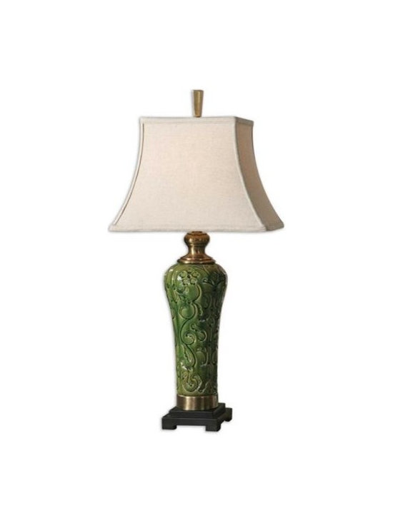 Uttermost Hillendale - Distressed aged green glaze on carved ceramic with coffee bronze metal details and a rustic bronze foot. The rectangle bell shade is an oatmeal linen fabric with natural slubbing.