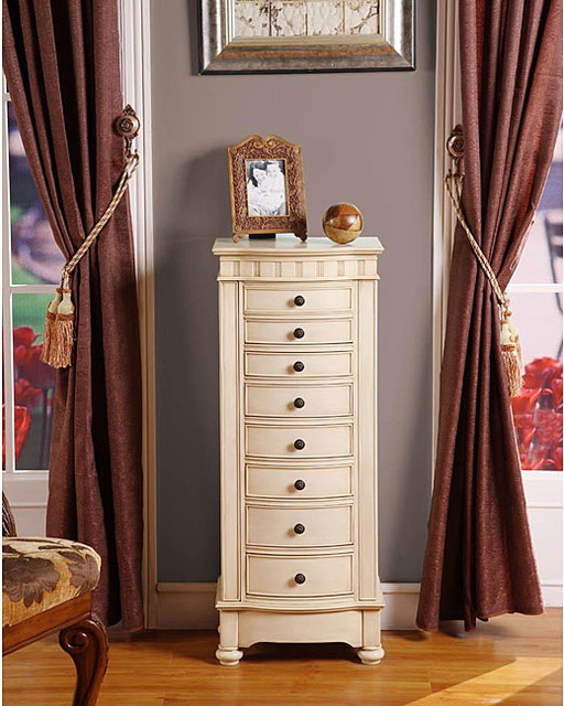Muscatto antique beige 8 drawer charging jewelry armoire for Juno vintage modern jewelry armoire