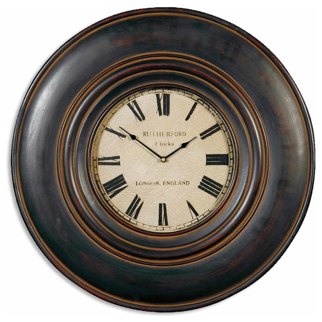 Uttermost Adonis 24 Inch Wooden Wall Clock Traditional