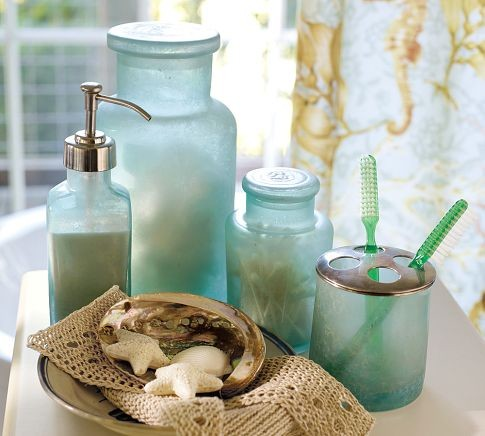 Blue Beach Glass Bath Accessories Tropical Bathroom Accessories By Pottery Barn